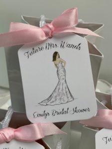 bridal shower favors with custom illustration